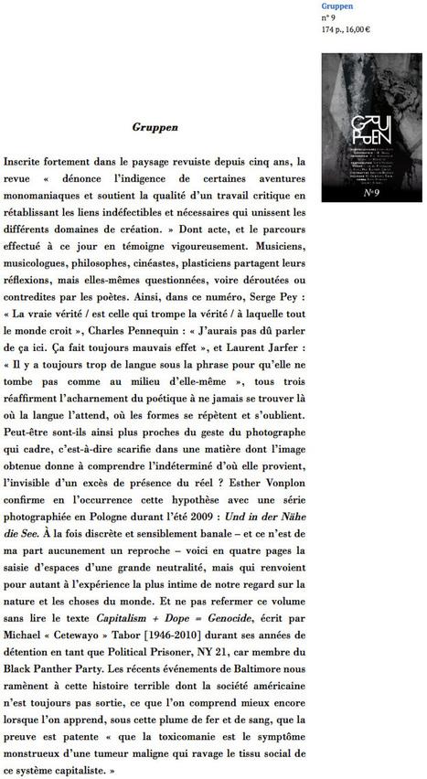 Cahier critique de poésie, juin 2015, Gruppen n°9 par Yves Boudier